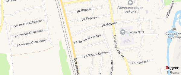 Улица Тита Коржикова на карте Суража с номерами домов