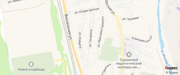 Улица Гагарина на карте Суража с номерами домов