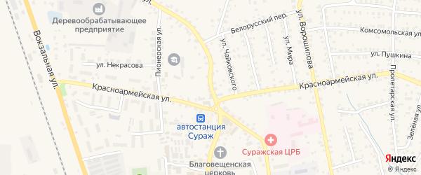 Белорусская улица на карте Суража с номерами домов