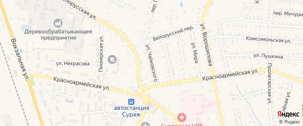Улица Чайковского на карте Суража с номерами домов