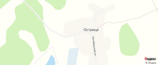 Октябрьская улица на карте поселка Острицы с номерами домов