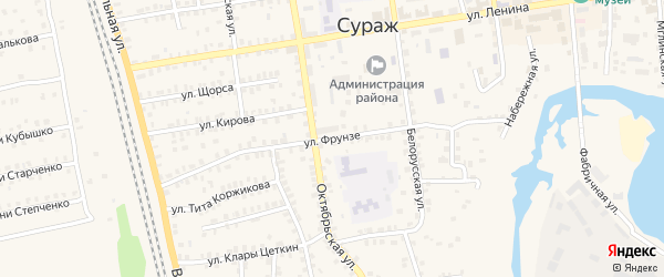 Улица Фрунзе на карте Суража с номерами домов