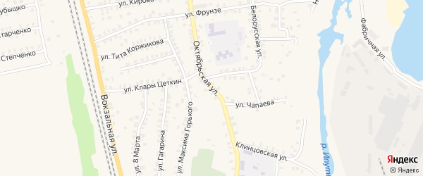 Октябрьская улица на карте поселка Ново-Николаевки с номерами домов