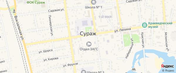 Весенняя улица на карте Суража с номерами домов