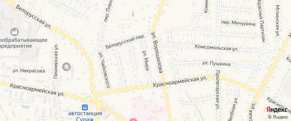 Улица Мира на карте поселка Передовика с номерами домов