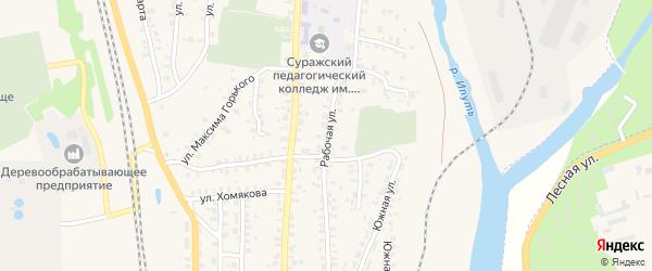 Рабочая улица на карте Суража с номерами домов