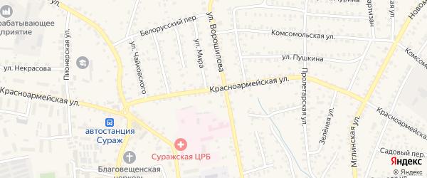 Красноармейская улица на карте Суража с номерами домов