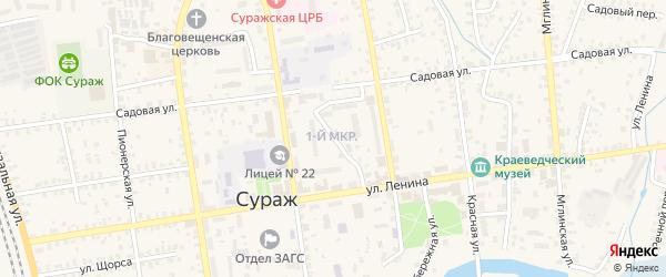 Улица 1-й Микрорайон на карте Суража с номерами домов