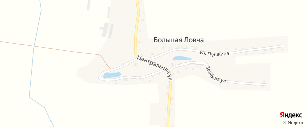 Центральная улица на карте деревни Большей Ловча с номерами домов