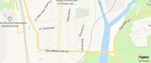 Южная улица на карте Суража с номерами домов