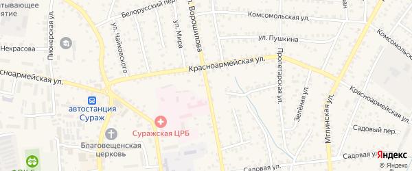 Улица Ворошилова на карте Суража с номерами домов