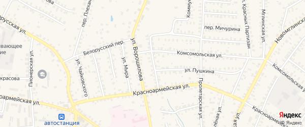 Красноармейский переулок на карте Суража с номерами домов