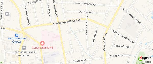 Пролетарский переулок на карте Суража с номерами домов