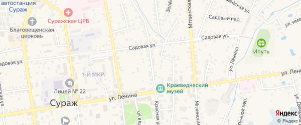 Красная улица на карте Суража с номерами домов