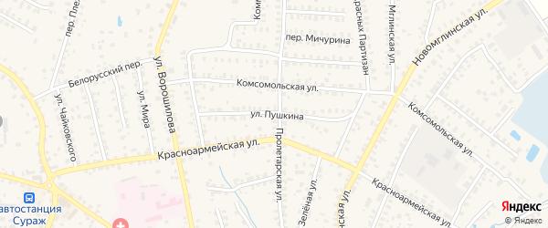Улица Пушкина на карте Суража с номерами домов