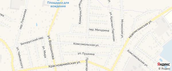 Коммунистическая улица на карте Суража с номерами домов
