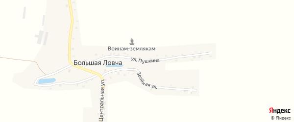 Улица Пушкина на карте деревни Большей Ловча с номерами домов