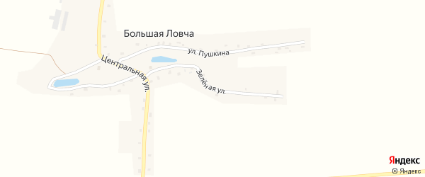 Зеленая улица на карте деревни Большей Ловча с номерами домов