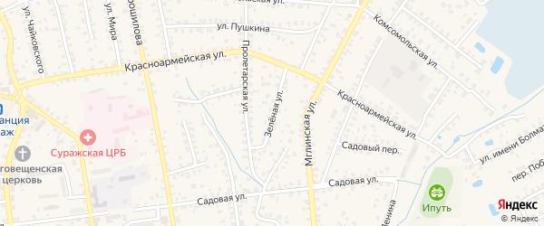 Зеленая улица на карте Суража с номерами домов