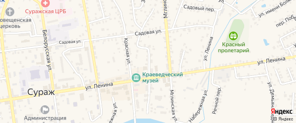 Советская улица на карте Суража с номерами домов