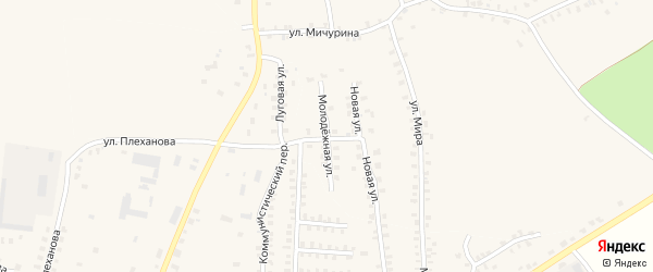 Молодежная улица на карте деревни Калинки с номерами домов
