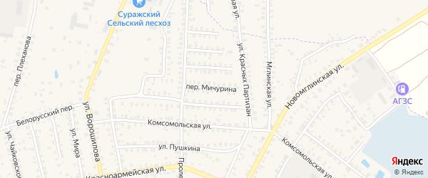 Переулок Мичурина на карте Суража с номерами домов