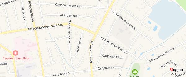 Мглинская улица на карте Суража с номерами домов