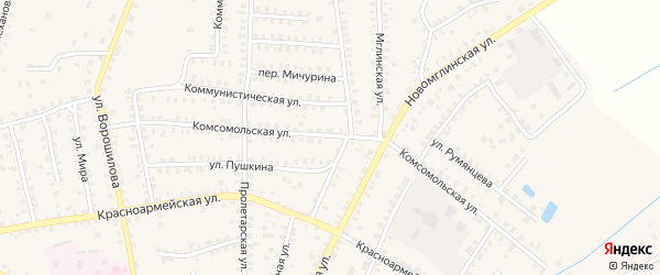 Комсомольская улица на карте Суража с номерами домов