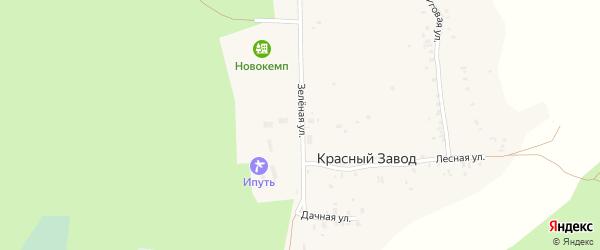 Зеленая улица на карте поселка Красного Завода с номерами домов