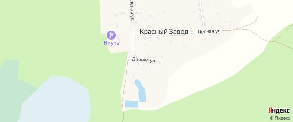 Дачная улица на карте поселка Красного Завода с номерами домов