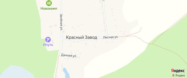 Лесная улица на карте поселка Красного Завода с номерами домов