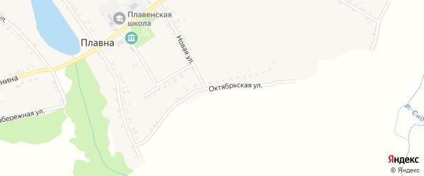 Октябрьская улица на карте деревни Плавны с номерами домов