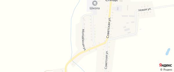 Молодежный переулок на карте деревни Слища с номерами домов