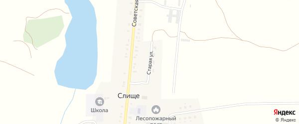 Старая улица на карте деревни Слища с номерами домов