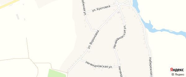 Улица Вороновка на карте села Брахлова с номерами домов