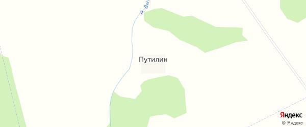 Красная улица на карте поселка Путилина с номерами домов