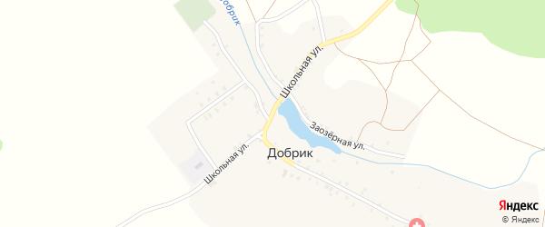 Школьная улица на карте деревни Добрика с номерами домов