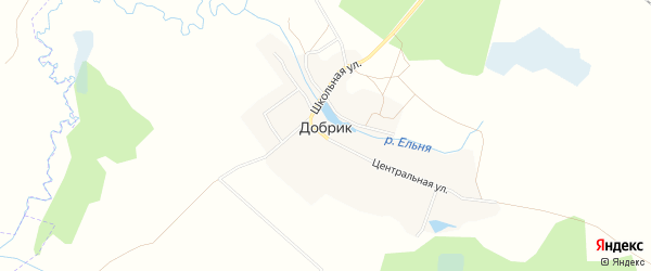 Карта деревни Добрика в Брянской области с улицами и номерами домов