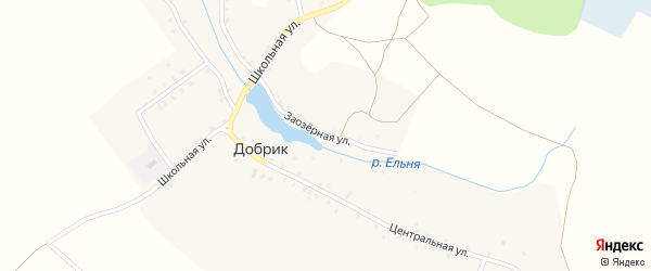 Заозерная улица на карте деревни Добрика с номерами домов