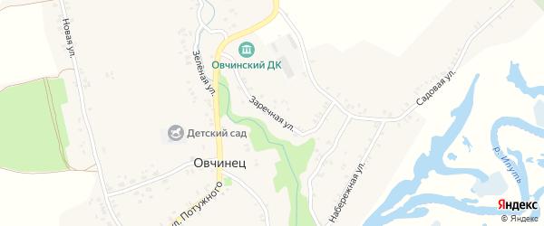 Заречная улица на карте села Овчинца с номерами домов