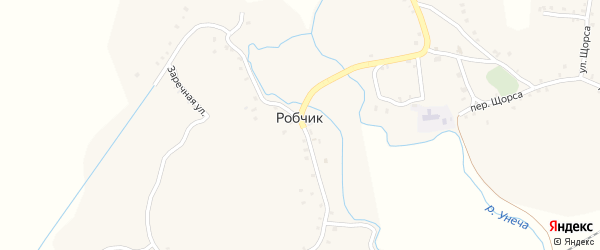 Переулок Кирова-1 на карте села Робчика с номерами домов