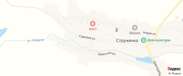 Садовая улица на карте деревни Струженки с номерами домов