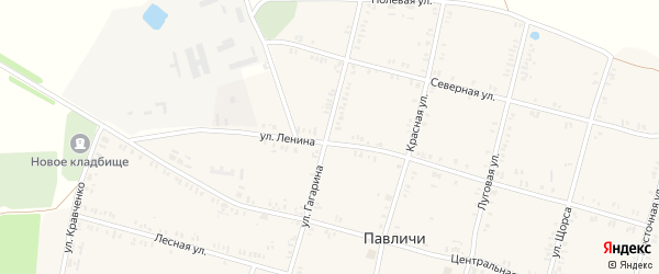 Улица Гагарина на карте села Павличей с номерами домов