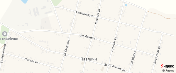 Улица Ленина на карте села Павличей с номерами домов