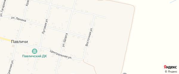 Восточная улица на карте села Павличей с номерами домов