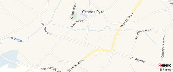 Школьная улица на карте села Старой Гуты с номерами домов