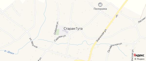 2-й Заречный переулок на карте села Старой Гуты с номерами домов