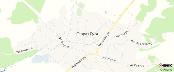 Карта села Старой Гуты в Брянской области с улицами и номерами домов