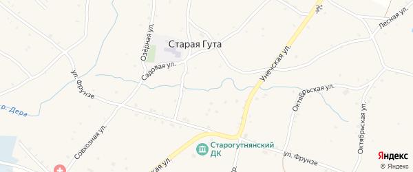 Заречная улица на карте села Старой Гуты с номерами домов