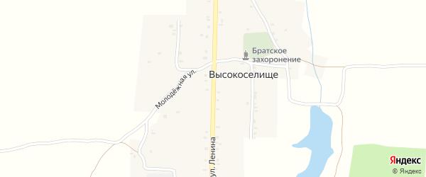 Улица Ленина на карте села Высокоселища с номерами домов